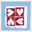Four hearts blue valentine card