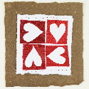 Four hearts brown valentines card