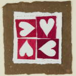 Four Hearts Walnut valentines card